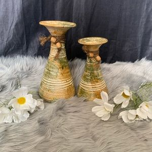 Earthy handmade ceramic pottery vases - set of 2